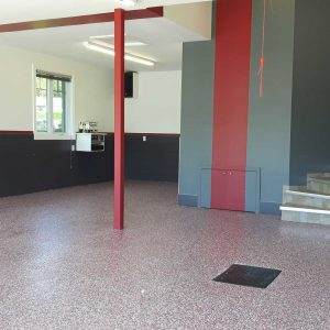 revetement plancher garage rouge
