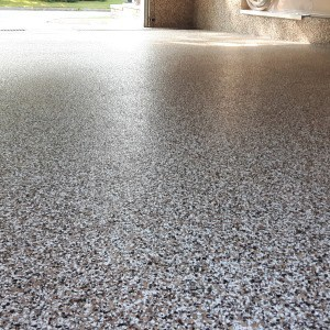 polyurea flocons plancher garage sable